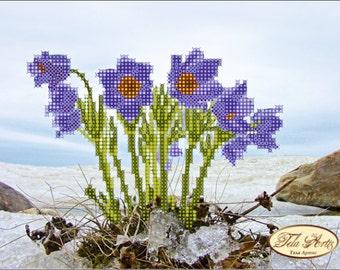 Small Blue, Pink or Iris Flower Bead Art Kit