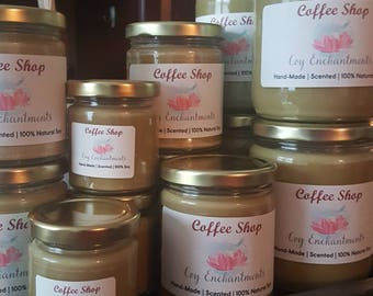Coffee Shop Soy Candle - Handmade - coffee Scented