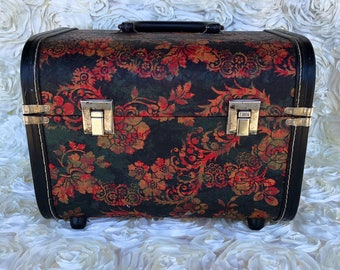 Vintage cosmetic toiletry train trunk luggage suitcase train case caboodle