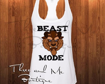 Beast Mode Women's Workout Tank; Beauty and the Beast Inspired Workout Attire