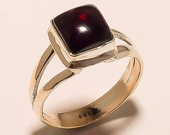 Natural Garnet Ring Red Garnet Cabochon Ring Sterling Silver Ring Red Garnet Gemstone Ring 925 Solid Sterling Silver Garnet Ring Us8.3 E-635
