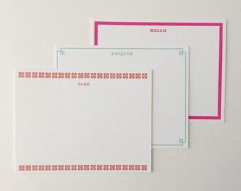 Hello Letterpress Note Cards
