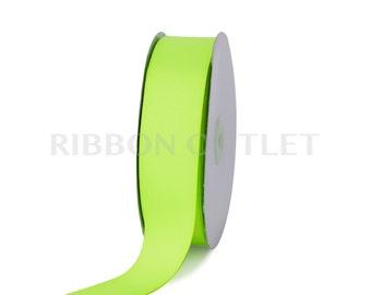 "1 1/2"" Bright Neon Green Grosgrain Ribbon 50 Yards Per Roll"