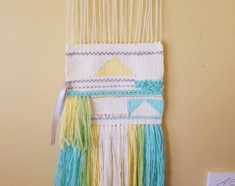 Pastel Weave Wall Hanging in Acrylic Yarn