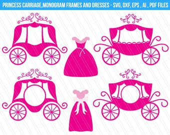 Princess Carriage SVG cutting files, DXF, Princess carriage monogram frames svg, princess dress svg, cindrella dress svg, Carriage clipart