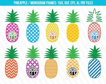 Pineapple SVG cutting files,DXF, Pineapple Svg, Patterned pineapple clipart, Pineapple Monogram, Fruits SVG, Pineapple vector, Cricut