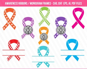 Awareness ribbon SVG, Awareness ribbon clipart , Patterned ribbon vector, awareness ribbon split monogram - Instant Digital download