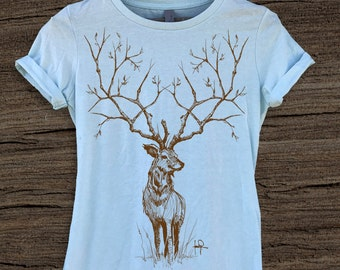 Deer with Tree Branches Womens Graphic Illustration Tee-Tshirt-tops for women-Animals-Ink-art-Next Level Apparel