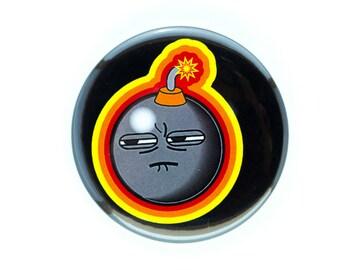 """Pinback Button, 2.25"""" Original Art Pin, Sullen Bomb, 2 1/4 in"""