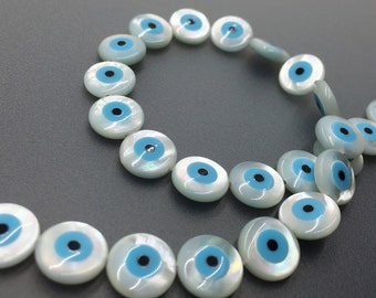 5pcs Mother Of Pearl Evil Eye  Beads ,8mm 10mm Evil Eye Beads For Jewelry Making
