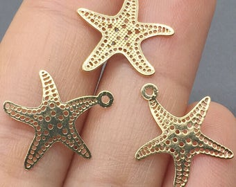 30pcs 16*14mm 24K Gold Plated Starfish Charms,Mini Starfish Pendant, Brass Charms,Jewelry Findings