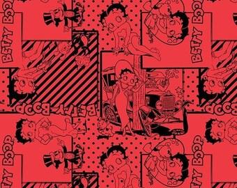 "Classic Cartoon Fabric - Camelot Betty Boop - Camelot Betty Boop Red Retro Scene 100% cotton 44"" Fabric by the yard, N123"