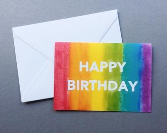 Happy Birthday Rainbow Card - A6 Charity Card - Multicoloured Rainbow Stripe Block Letter Greeting Card