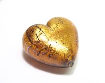 Murano Bead, 20mm Murano Heart, Chocolate Murano Heart, Brown Heart Bead, Venetian Glass Bead, Murano Glass Focal Bead, Metallic Focal Bead