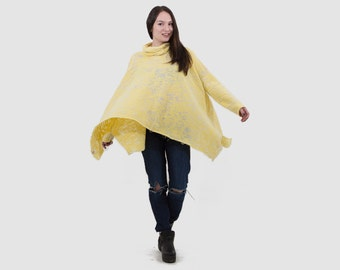 Yellow loose blouse/ women yellow top/ cotton women top/ asymmetrical loose top/ yellow top with gray/ fashion blouse/ casual top