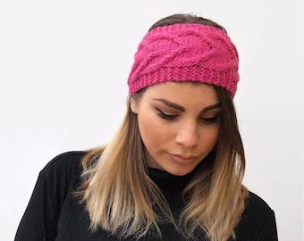 Hot Pink Headband / knit headband / Cable knit headband / headband / gift for her / handmade headband / woman accessories /hair accessories