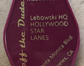 "BIG LEBOWSKI ""Jeff the dude"" inspired keytag in Purple & Gold or White"