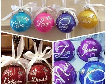 Painted Christmas balls with name on it
