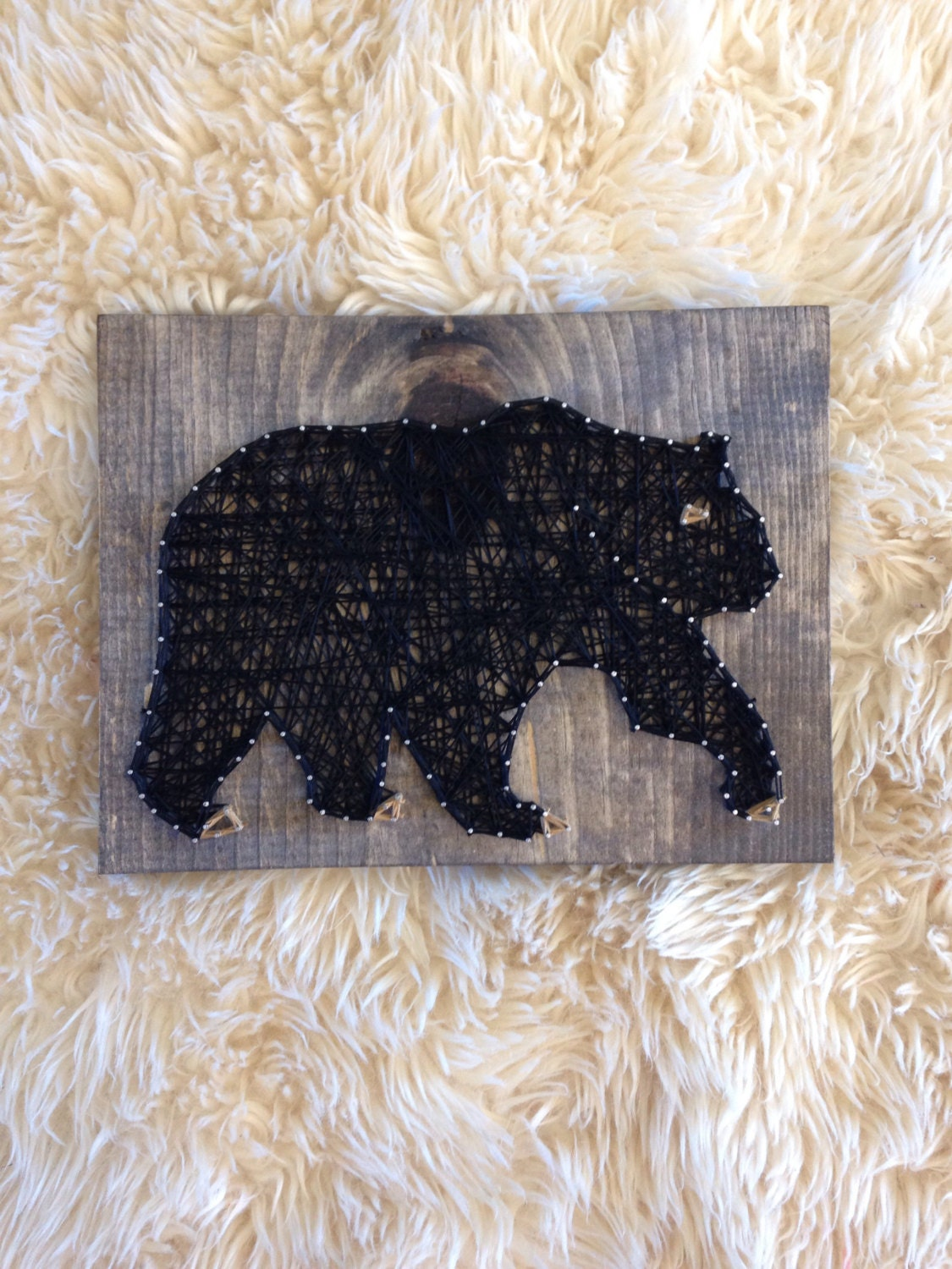 Black bear string art wood home decor sign woodland creatures for Bear decorations for home