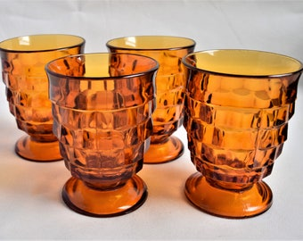 Set of 4 Amber Whitehall Juice Glasses by Colony /Vintage Glassware