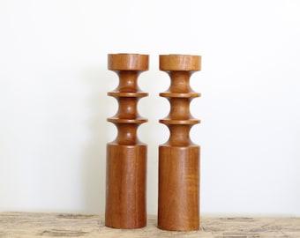 Pair of Vintage Mid Century Modern Carved Wood Candlesticks