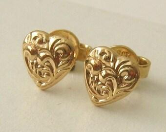 Genuine 9ct Solid Gold Ornate LOVE HEART Stud EARRINGS