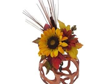 Floral Arrangement/Home Decor- Copper Sphere Multi-Flower,Multi-Foliage Floral Arrangement with Natural Tones