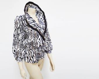 Retro 1980s Blouse, EUR36, UK8, US4, Bold, Statement, Vintage, Wild, Power Dressing, Gold, Black, White, Crazy Print, Clothing, Ladies