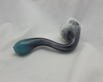 Teal, Black, & White Glass Sherlock Tobacco Pipe (Free Shipping First Class)