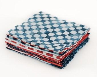 """FAT QUARTER BUNDLE - Robert Kaufman Color Source Batik Bundle, A classic red, white and blue palette, 12 pieces in 18"""" x 22"""" cuts"""