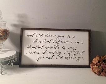 I'd Choose You Sign Love Sign Wooden Sign Bedroom Decor Wedding Gift Bridal Shower Gift