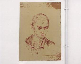 Punk Skinhead Lithography Print - Orange
