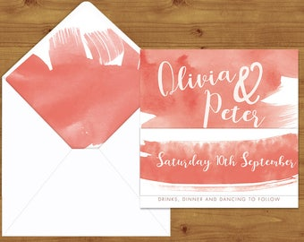 Soft Peach Watercolour Belly Bands and Envelope Liners - Peach Wedding - Wedding Invitation Extras - Wedding Stationery
