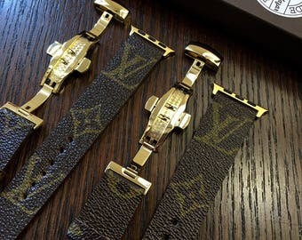 Gold Louis Vuitton Apple iWatch Band Monogram