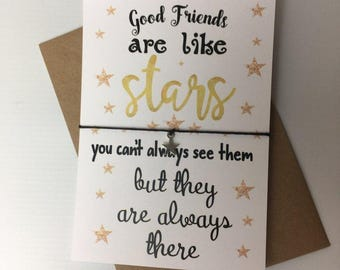 Wish Bracelet / Charm Bracelet / Friendship Bracelet / Birthday Gift Present / Good Friends are like stars / Gift for her /