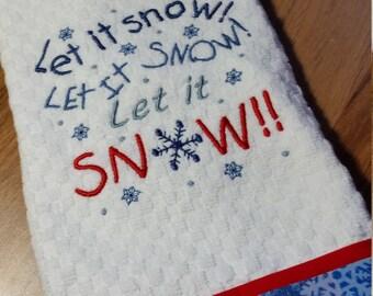 Christmas Kitchen Towel/ Snowman Dish Towel/ Embroidered Dish Towel/ Let It Snow Dish Towel/ Xmas Dish Towel/ Christmas Kitchen Decor