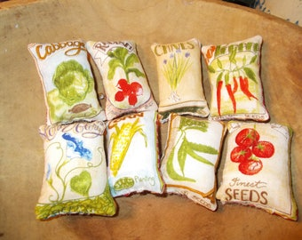 seed packet tiny pillows, set of 8,  bowl fillers, garden decor, farmhouse kitchen, jar ornaments, gift for mom, primitive ornies, ooak