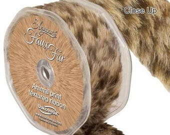 Leopard Print Faux Fur Trim - 38mm x 1.5m - Eleganza