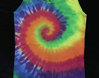 Hand tie dyed strappy top American Apparel Ladies XL Approx Size 10 to 12