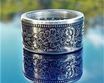 Japanese 1000 Yen  Hand Crafted  .925 silver Coin Ring. size 8-13