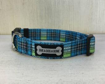 "Adjustable Dog Collar:  ""Plaid Dog"""
