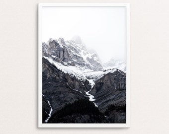 Mountain print, black and white landscape, mountains photography, mountain printable, minimalist print, nature printable, nature wall art