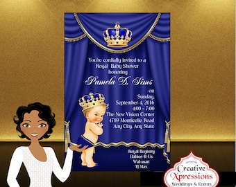 Royal Prince with Gold Crown Baby Shower Invitation, Royal Blue Theater Curtain Royal Prince with Crown,