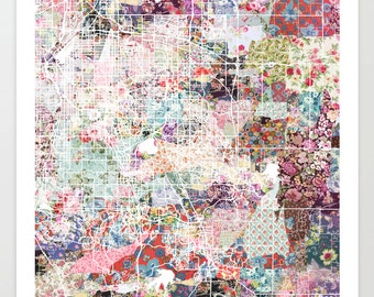 Aurora map CO | Aurora Painting | Aurora Art Print | Aurora Poster | Colorado map | Flowers compositions
