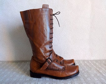 Brown Genuine Leather Lace Up Boots Under Knee High Boots Large Size US 10  Vintage Women's Boots Zip Closure Low Heel Grunge Hipster Boots
