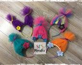 Trolls Inspired Headbands, Girls Head bands, Troll Costumes, Poppy Headband, Trolls Halloween, Trolls Dress up, Trolls Birthday Party