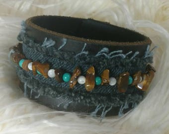 Denim Leather Cuff with Tiger Eye, Turquoise and Mother of Pearl