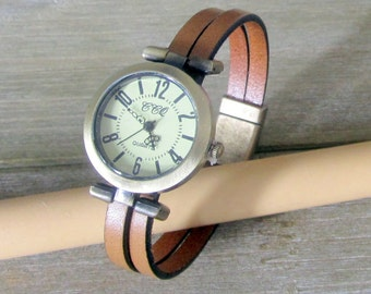 Camel leather watch, dial Bronze 10MM magnetic Bronze clasp bracelet