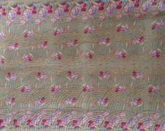 Vintage 1950s Handmade Quilt Cotton Quilt Made In Western NC Madison County Hand Stitched Pink Floral Quilt Throw Blanket