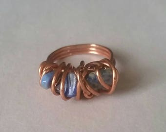 Denim lapis lazuli ring, wire wrap ring, lapis lazuli ring, bohochic ring, unisex ring, lapis lazuli wire wrapped ring,